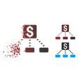 destructed pixel halftone cashout scheme icon vector image vector image