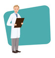doctor with a folder in hand on a green rectangle vector image vector image