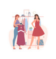 female friends choosing clothes in shop together vector image