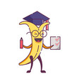 funny fruit banana character graduate vector image vector image