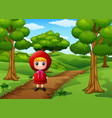 girl red hooded alone at the street vector image vector image