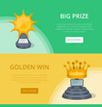 golden big prizes of star and crown shapes vector image vector image