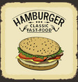hamburger classic fast food color vector image