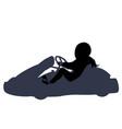 isolated go kart girl racer on white background vector image vector image