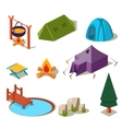 Isometric 3d Forest Camping Elements for Landscape vector image vector image
