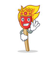 king match stick mascot cartoon vector image vector image