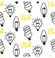lamp light bulb hand drawn seamless pattern design vector image vector image