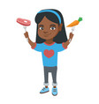little african girl holding fresh carrot and steak vector image vector image