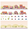 low poly 2d buildings and city scene vector image vector image