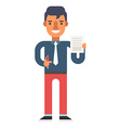Man with pen and document in hands vector image