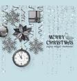 merry christmas background with poinsettia vector image vector image
