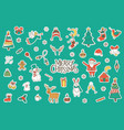 merry christmas stickers set vector image vector image