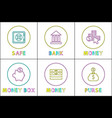 online banking services linear icons templates vector image