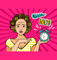 pop art girl with clock vector image vector image