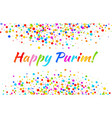 purim card carnival paper confetti background vector image