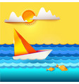 sailboat and golden fish vector image vector image
