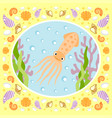 sea background card with squid vector image