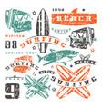 set graphic elements bus surfing shark vector image