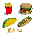 Set of fast foods vector image vector image