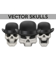 Set of Human skulls with bowler hat vector image