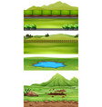 set of nature landscape vector image vector image