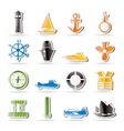 simple marine icons vector image