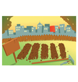 Sunset on a farm vector image vector image