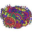 surreal doodle mandala colorful design vibrant vector image vector image