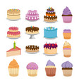 sweet cakes set icons vector image vector image