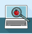 the virus ladybug on the laptop with a magnifying vector image