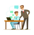 two businessmen working together in office vector image vector image