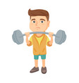 upset caucasian boy lifting heavy weight barbell vector image vector image