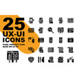ux ui application solid and glyph icons set base vector image