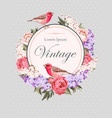 Vintage card with flowers and birds vector image vector image