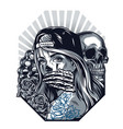 vintage chicano tattoo style monochrome concept vector image vector image