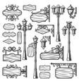 vintage street lanterns set vector image vector image