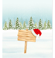 Winter nature background with a wooden sign and a vector image vector image