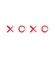 xoxo hugs and kisses sign symbol mark love card vector image vector image