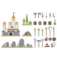fantasy castle game weapons screen concept vector image