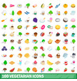 100 vegetarian icons set isometric 3d style vector image