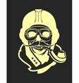aviator skull emblem vector image vector image