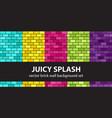 brick pattern set juicy splash seamless brick vector image vector image