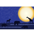 Card with african animals at night vector image