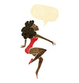 cartoon dancing woman with speech bubble vector image vector image