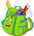 cartoon green school backpack waving hand vector image vector image