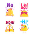 chicken polygonal sticker set vector image vector image