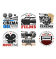 cinema films camera and movie icons vector image