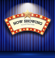 cinema theater curve sign blue curtain light up vector image vector image
