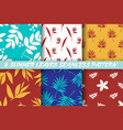 collection 6 summer leaves seamless pattern vector image