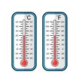 Colored flat icons of thermometers for weather vector image vector image